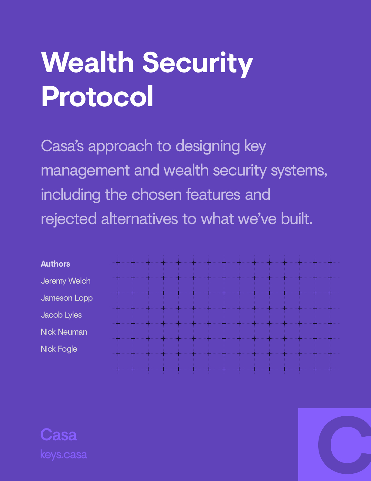 wealth security protocol by Casa